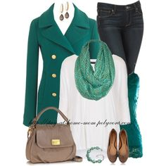 I could do this in red! I've got a red wool coat, and a red print scarf. Polyvore.com/Aztec_Print_Scarf