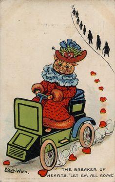 LOUIS WAIN THE BREAKER OF HEARTS VINTAGE COMIC MOTORING CAT POSTCARD ROWLAND   eBay