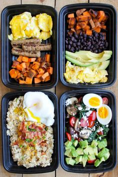 Each recipe makes four large bowls, so think of this as your ~breakfast menu~. I would save the avocado to chop each morning, so it doesn't get too brown. Get all of the recipes on Smile Sandwich.