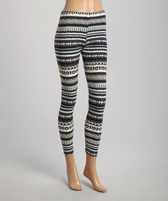 Black & Gray Geo Stripe Leggings