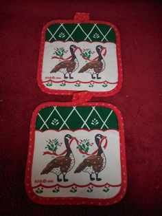 2 RAB 1986 Christmas Hot Pads(JS) #RAB