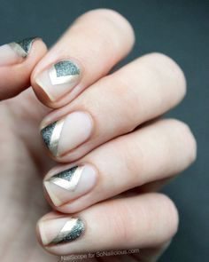 Nude, grey, glitters, gold, triangle, geometric, chic, manicure, nail art, nail lacquer, nail polish, idea, easy, diy