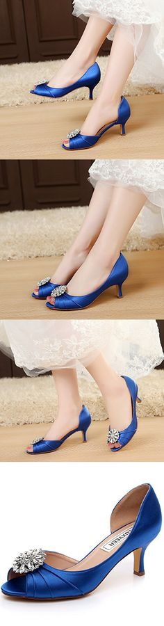 LUXVEER Peep Toe Satin Women Shoes - Low Heel Women Shoes 4.5 inch -2065-Royal Blue-EU38 Wedding Shoes