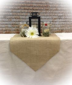Burlap Table Runner 16 & 18 wide w/pointed ends by CreativePlaces