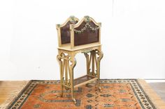 Painted French Cane Sided & Shelved Portfolio Stand