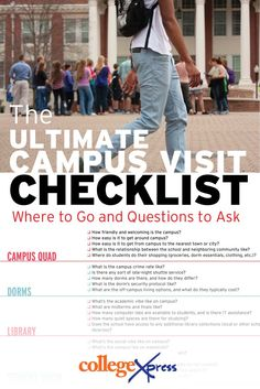 A  list of campus hotspots and questions you should ask!   http://www.collegexpress.com/articles-and-advice/campus-visits/articles/evaluate-your-visit/ultimate-campus-visit-checklist-where-go-and-questions-ask/