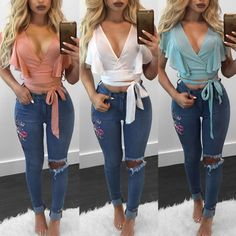 Top Sale Sexy Women Fashion Lace Up Ruffle Sleeve Bandage Deep V Neck Chiffon Crop Top Blouse Shirts Crop Top Shirts, Tank Shirt, Crop Tops, White Ruffle Blouse, Chiffon Ruffle, Ruffle Sleeve, Chiffon Tops, Best Tank Tops, Casual Outfits
