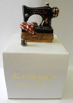 Vintage Limoges Sewing Machine Trinket BOX  