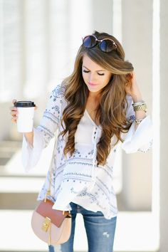 cute blue and white top with bell sleeves