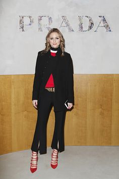 Olivia Palermo attends the Prada show during Milan Fashion Week Fall/Winter 2017/18 on February 23 2017 in Milan Italy