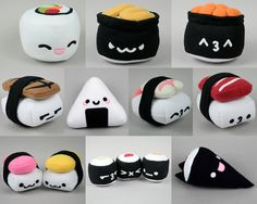 Compilation of 8 Sushi Plushies .pdf Sewing Patterns All the Sushies – Collection of 10 Sushi Plushies . Plushie Patterns, Pdf Sewing Patterns, Softie Pattern, Free Sewing, Cute Pillows, Diy Pillows, Cute Crafts, Felt Crafts, Cute Diys