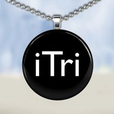 Triathalon Necklace  Glass Tile Pendant by freetobemecreations, $6.95