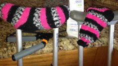 Comfy crutches made with socks.