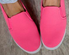 plátěné SLIP-ON  sneakers tenisky NEON FUCHSIA