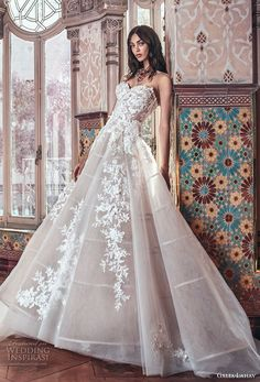 galia lahav spring 2018 bridal strapless sweetheart neckline heavily embellished bodice romantic princess blush color ball gown a line wedding dress chapel train (alma) mv -- Galia Lahav Spring 2018 Wedding Dresses #weddingdress #aline
