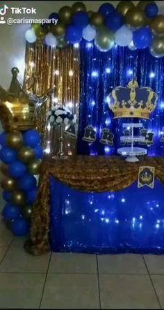 Royalty Baby Shower Theme, Boy Baby Shower Themes, Prince Birthday Theme, Birthday Themes For Boys, Diy Baby Shower Decorations, Birthday Decorations, Royal Baby Showers, Royal Baby Party, Royal Theme