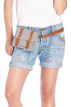 Brown & cream canvas striped mini belt bag