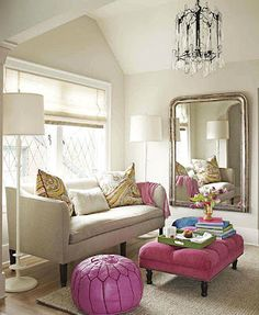 love the pink and light fixtures - I would add wide pink stripes to that mirror wall to match the pick table like ottoman  don't like to puffs color at all...needs to be lime or turquoise  :)