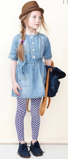 This denim dress, polka dot leggings and sparkly boots are all awesome!!