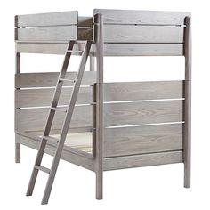 Our Wrightwood Bunk Bed has made it easier than ever to create the right look right away for any room in your home.  The stunning Stained Grey finish allows the wood's natural grain to show through and makes the bed easy to coordinate with your other furniture and decor.  And its slatted headboard and rounded edges give it a smooth, refined look.  Best of all, it can be converted into two individual Twin Size Beds.