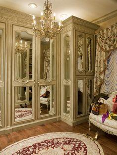 Habersham Custom Cabinetry in the dressing room - great mirrored doors