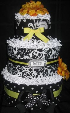 Black and White Damask Diaper Cake