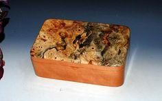 Handmade Wood Box - Cherry with Buckeye Burl by BurlWoodBox- Wood Jewelry Box Handmade Wood Box Treasure or Keepsake Box Wood Storage Box by BurlWoodBox