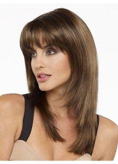 Beautiful Medium Brown Straight Synthetic Wig