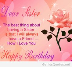 The Best Wishes On My Sister Birthday Quotes And Images Greetings