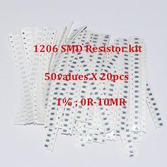1000 unids SMD 1206 Paquete de Resistencia 50 Valores X 20 unids Kit Resistencias Resistencias Trousse Chip Fijo 1% 0 ohm-10 M ohm SMD Resistencia