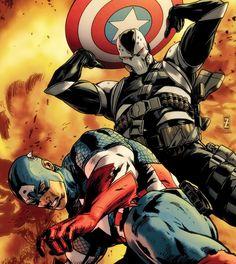 """captain america (steven """"steve"""" rogers) vs scourge of the underworld (frank simpson)"""