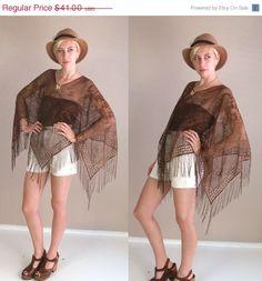 on sale vtg 80s Cocoa Brown Sheer CROCHET cut out FRINGE CAPE kimono draped os gypsy hippie. $30.75, via Etsy.