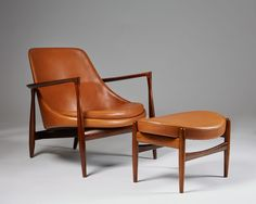 Rosewood and cognac leather. Height of the chair. H: 61 cm/ 24'' W: 79 cm/ 31'' D: 75 cm/ 29 1/2'' Seat height: 35 cm/ 13 3/4'' Dimensions of the stool. H: 36 cm/ 14'' W: 56 cm/ 22'' D: 44,5 cm/ 17 1/2''