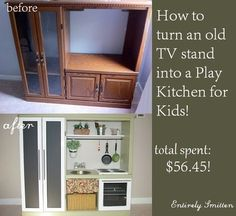 New diy kids kitchen set entertainment center Ideas Diy Kids Kitchen, Kitchen Sets For Kids, Awesome Kitchen, Tv Stand To Play Kitchen, Toy Kitchen, Kitchen Living, Wooden Projects, Diy Projects, Old Tv Stands