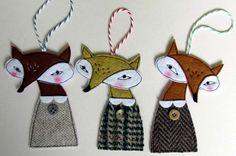 Felt Fox Christmas Decoration by samanthastas on Etsy, £9.00