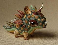 Fairy Tale little Dragon - porcelain sculpture - by Ukrainian artists Anya Stasenko and Slava Leontyev