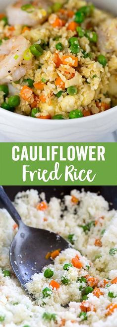 Shrimp fried cauliflower fried rice is a healthy and delicious vegetable based alternative to traditional Chinese stir fry. Cauliflower florets substitute white rice for this savory one-pot meal. #friedrice #chinesefood