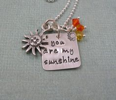 SUNSHINE Hand Stamped Necklace  Hand Stamped by tinytokensdesigns, $42.00