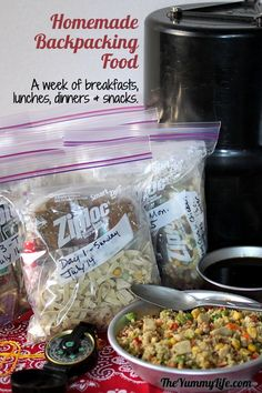 How to make and pack 7 days of healthy backpacking or camping breakfasts, lunches, dinners & snacks that fit in a bear barrel.