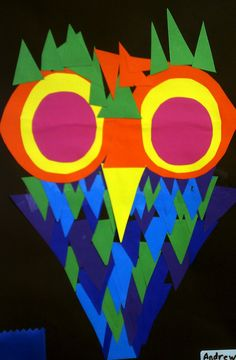 Mrs. Jackson's Art Room - cool owl project - use of warm and cool colors.
