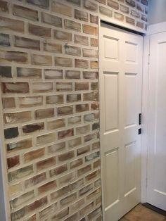 . Fake Brick Wall, Brick Accent Walls, Painted Brick Walls, Faux Brick Panels, Brick Paneling, Faux Murs, Faux Brick Backsplash, Cottage Shabby Chic, Basement Remodeling