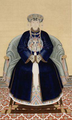 (China) Lady Wanyan, wife of Hongming Qing dynasty Xi Pan, Chinese Emperor, Asian History, British History, Korean Art, China Art, Chinese Clothing, Ancient China, Qing Dynasty