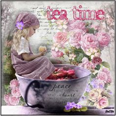 Sweet Tranquili-tea! by marie-guzik-mcauley on Polyvore featuring art, tea, peace, lilac, contemplation, quite, apple, teacup, girl and tranquil