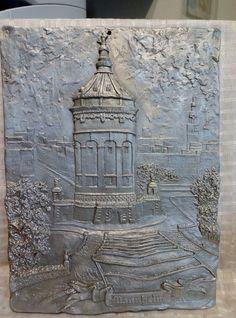 """Cast 3-D Aluminum MANNHEIM Figural Wall Plaque Sculpture - 10.5 x 13.5"""" - Nice"""