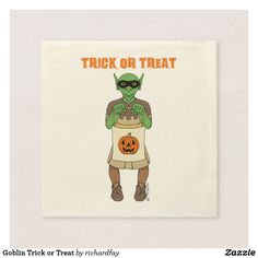 Goblin Trick or Treat Napkin.  40% Off Paper Napkins. Party details that will steal the show. Promo Code: TRICKANDSAVE.  Offer is valid through September 27, 2017 11:59 PM PT.  #Zazzle #paper_napkin #napkin #Halloween_napkin #goblin #masked_goblin #trick_or_treating_goblin #trick_or_treater #Trick_or_Treat