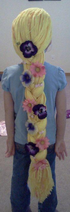Yarn hair - love the added flowers