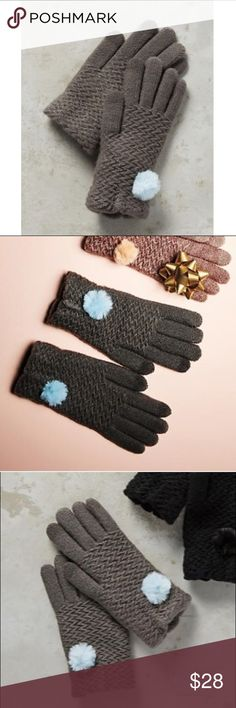 "Anthropologie Pommed Berkshire Gloves NWT. Anthropologie Pommed Berkshire Gloves in Gray with a cute blue pom detail. Gloves are tech-friendly! Never have to worry about taking off your gloves to use your phone!  Details:  ❄️Acrylic, polyester  ❄️pom-pom detail ❄️Spot clean ❄️Dimensions: 8""L ❄️Style No. 40431249 Anthropologie Accessories Gloves & Mittens"