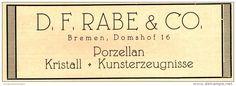Original-Werbung/Anzeige 1925 - PORZELLAN / KRISTALL - DR. F. RABE - BREMEN - ca. 140 x 45 mm