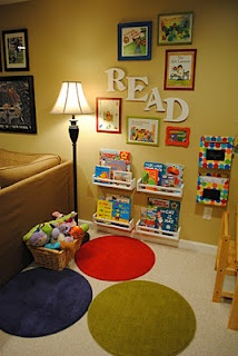Book nook with IKEA spice racks