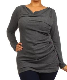 Charcoal Side-Button Cowl Neck Top